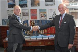Alan Philip, Managing Director, AP Information Services Ltd, presenting copies of Pension Funds and their Advisers to Alan Herbert, Chairman of The Pensions Archive Trust